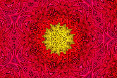 Photograph - Yellow Sun In A Red Sky Kaleidoscope by Peggy Collins