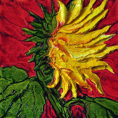 Yellow Sunflower On Red Art Print by Paris Wyatt Llanso
