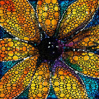 Yellow Sunflower - Stone Rock'd Art By Sharon Cummings Art Print by Sharon Cummings