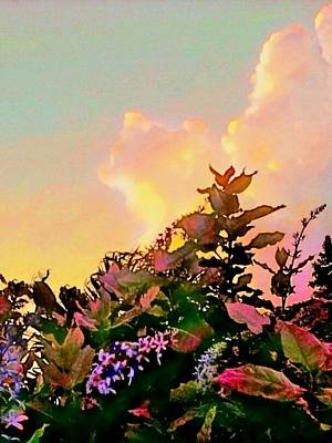 Digital Art - Yellow Sunrise And Flowers - Vertical by Lyn Voytershark