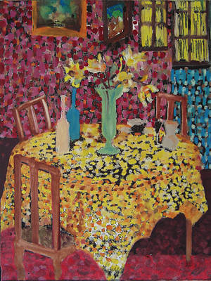 Yellow Table Art Print by Karen Coggeshall