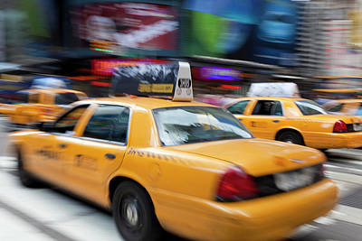 Adam Photograph - Yellow Taxi Cabs, Just Off Times by Peter Adams