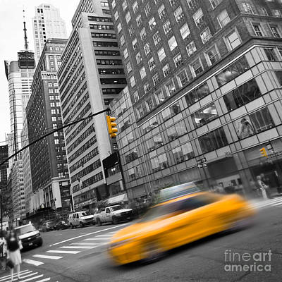 Selective Color Photograph - Yellow Taxi Nyc by Delphimages Photo Creations