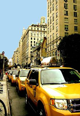 Yellow Taxis Art Print by Claudette Bujold-Poirier