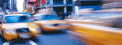 Crosswalk Photograph - Yellow Taxis On The Road, Times Square by Panoramic Images