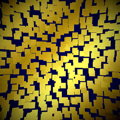 Digital Art - Yellow Tiles Texture Background by Valentino Visentini