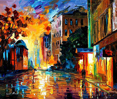 Yellow Town - Palette Knife Oil Painting On Canvas By Leonid Afremov Original by Leonid Afremov
