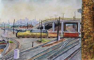 Yellow Train And San Francisco Skyline Art Print by Asha Carolyn Young