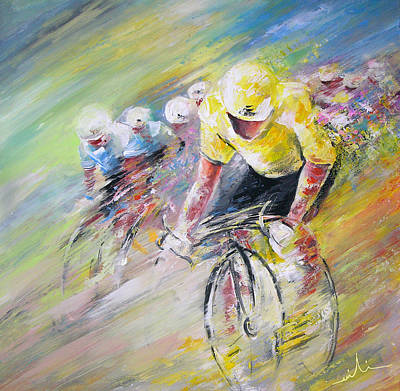 Sports Paintings - Yellow Triumph by Miki De Goodaboom