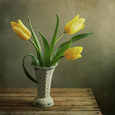 Photograph - Yellow Tulip Bouquet In Vintage Vase by Copyright Anna Nemoy(xaomena)