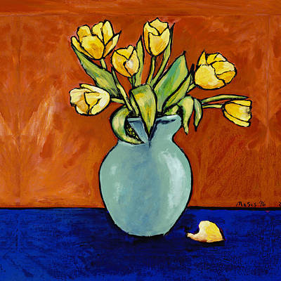 Yellow Tulips In A Turquoise Vase Art Print