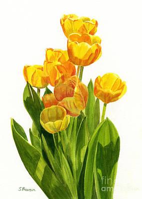 Orange Tulip Painting - Yellow Tulips In The Sun by Sharon Freeman