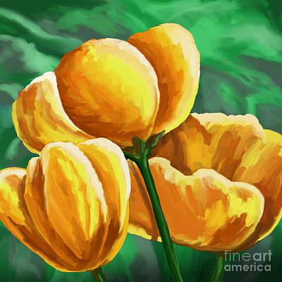 Painting - Yellow Tulips On Green by Tim Gilliland