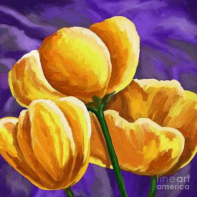 Painting - Yellow Tulips On Purple by Tim Gilliland
