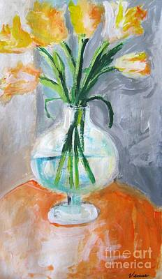 Modernism Mixed Media - Yellow Tulips by Venus