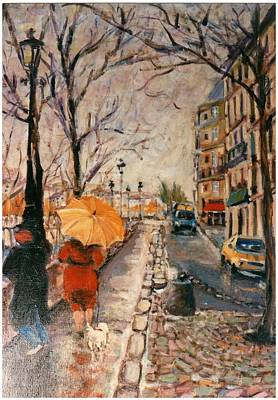 Print featuring the painting Yellow Umbrella by Walter Casaravilla