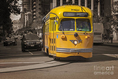 Photograph - Yellow Vintage Streetcar San Francisco by Colin and Linda McKie