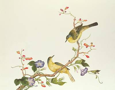 Lungs Painting - Yellow Wagtail With Blue Head by Chinese School