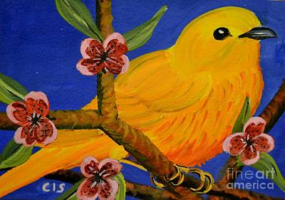 Painting - Yellow Warbler  by Cecilia Stevens