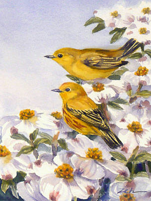 Painting - Yellow Warblers by Janet Zeh