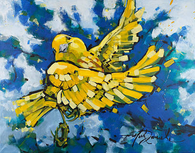 Warbler Painting - Yellow Warbler's Joy by Mark Daniels