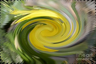 Art Print featuring the digital art Yellow Whirlpool by Luther Fine Art