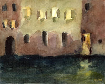 Yellow Windows At Night Watercolor Painting Of Venice Italy Art Print