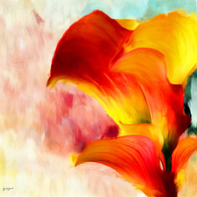 Lily Digital Art - Yellow With A Red by Lourry Legarde