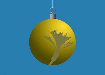 Digital Art - Yellow Xmas Palm Tree Ball Ornament by Stan  Magnan