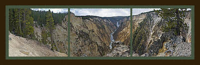 Mountainous Mixed Media - Yellowstone Artist's Point Overlook -  Panoramic Triptych by Steve Ohlsen