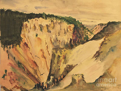 Painting - Yellowstone Canyon - Wyoming 1946 by Art By Tolpo Collection