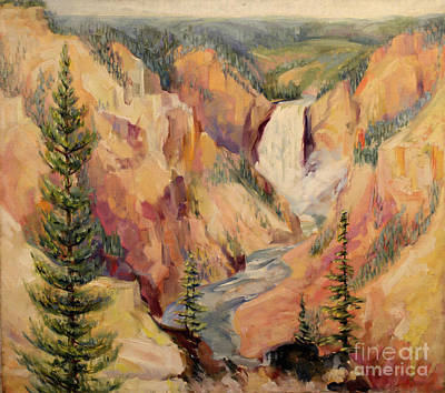 Painting - Yellowstone Canyon 1930 by Art By Tolpo Collection