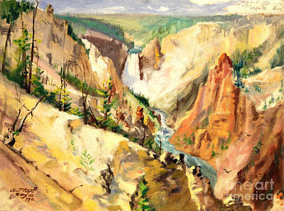 Painting - Yellowstone Canyon 1953 by Art By Tolpo Collection