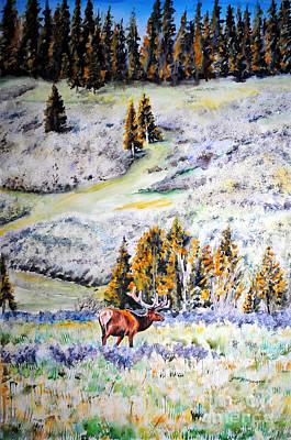 Yellowstone Elk Art Print by Tracy Rose Moyers