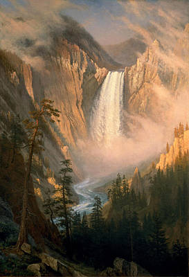 Very Painting - Yellowstone Falls by Albert Bierstadt