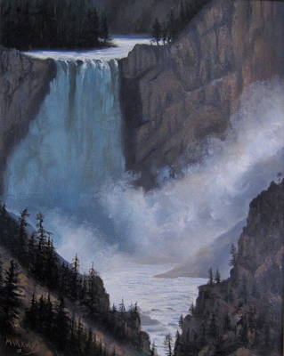 Yellowstone Falls Evening Art Print by Mar Evers
