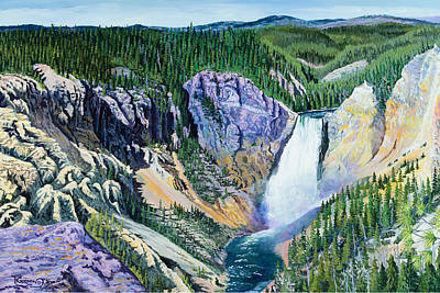 Fall Of River Painting - Yellowstone Falls by Timithy L Gordon