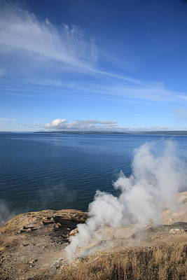 Photograph - Yellowstone Lake And Geysers by Frank Romeo