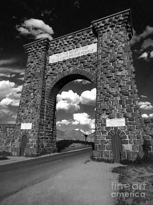 Yellowstone National Park Gate - Black And White Art Print by Gregory Dyer