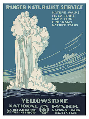 Wyoming Painting - Yellowstone National Park With Old Faithful Geyser by Elaine Plesser