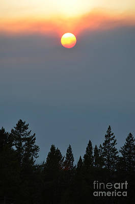 Photograph - Yellowstone Smoky Sunset by Debra Thompson