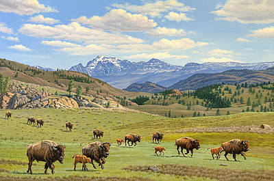 Bison Wall Art - Painting - Yellowstone Spring by Paul Krapf