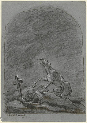 Pi Drawing - Yelping Dog At The Grave Of His Boss, David Pièrre by Quint Lox
