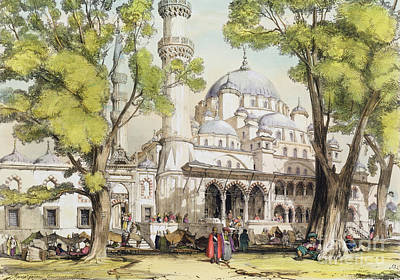 Ground Painting - Yeni Jami Constantinople by John Frederick Lewis