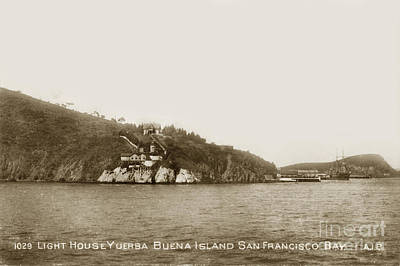 Photograph - Yerba Buena Island Aka Goat Island Lighthouse San Francisco Bay Circa 1910 by California Views Mr Pat Hathaway Archives