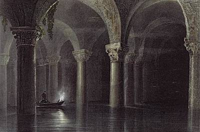 Floods Drawing - Yere Batan Serai Istanbul, Engraved by William Henry Bartlett