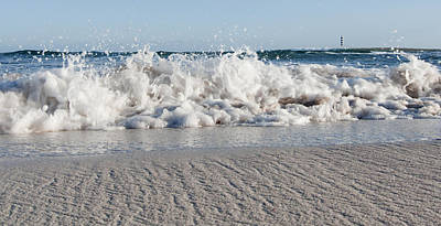 Mediterranean Photograph - A Close Up Of A Mediterranean Wave In Punta Prima Beach With The Lighthouse - Yes I Got Wet Shoes by Pedro Cardona