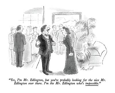 Checkered Drawing - Yes, I'm Mr. Edlington, But You're Probably by Stan Hunt