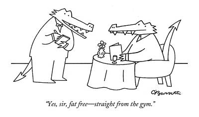 Alligator Drawing - Yes, Sir, Fat Free - Straight From The Gym by Charles Barsotti