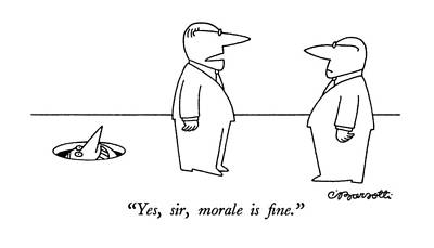 Face Drawing - Yes, Sir, Morale Is Fine by Charles Barsotti